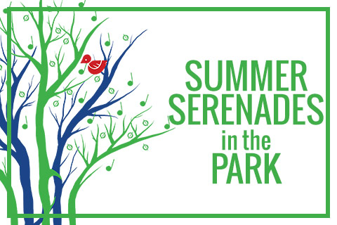 Summer Serenades in the Park Logo with Tree and Music Note Leaves