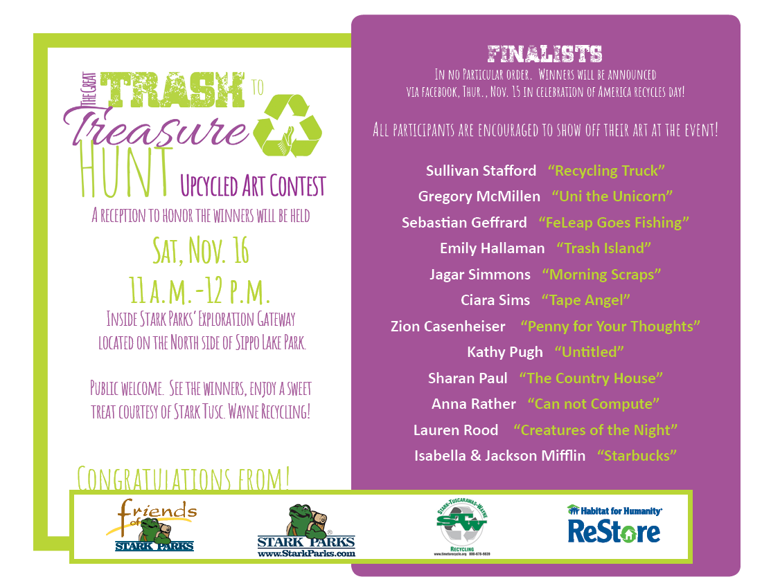 A list of finalists for 2019 Trash to Treasure Contest