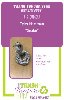 Trash to Treasure submission of a snake made from aluminum foil