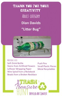 Trash to Treasure art submission of a bug made from trash including a soft drink bottle, stems from artificial flowers, leftover wrapping paper, wire spiral from a notebook, beads from a broken necklace, push pins, small plastic pieces, and metal recyclables