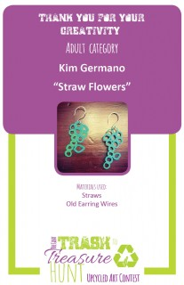 Trash to Treasure art submission of earrings made from straws and old earring wires made to look like flowers