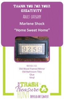 Trash to Treasure submission of a home address marker made from an old wood-framed mirror, old bathroom tiles, and vinyl