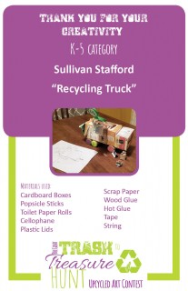 Trash to Treasure submission of a truck made from cardboard boxes, popsicle sticks, toilet paper rolls, cellophane, plastic lids, scrap paper, tape, and string