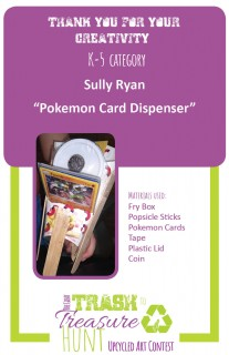 Trash to Treasure Pokemon card dispenser made from a fry box, popsicle sticks, Pokemon cards, a plastic lid, and a coin