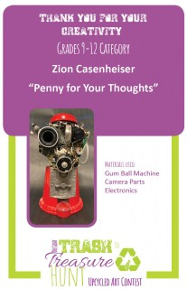 """Trash to Treasure art piece submission entitled """"Penny for your Thoughts"""" made from a gum ball machine, camera parts, and various electronics"""