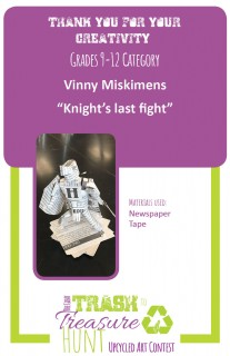 Trash to Treasure art submission of a knight made out of newspaper
