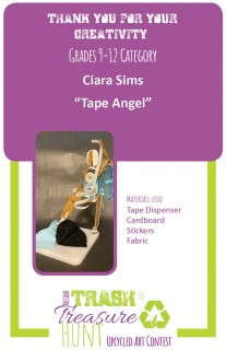 """Trash to Treasure submission entitles """"Tape Angel"""" made from a tape dispenser, cardboard, stickers, and fabric"""