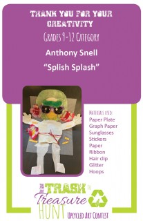 """Trash to Treasure art submission entitled """"Splish Splash"""" made from a paper plate, a graph plate, sunglasses, stickers, paper, ribbon, a hair clip, glitter, and hoops"""