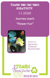 Trash to Treasure art submission of flower bouquet made from egg cartons, cardboard, and recycled paper