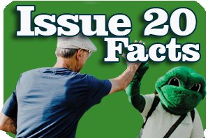 Levy Issue 20 facts with FeLeap the Frog giving High Five