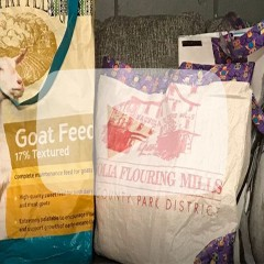 Tote bag with straps from goat feed bag