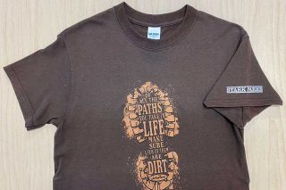 Tee shirt with boot print in middle