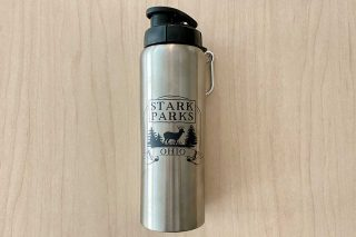 Metal water bottle with Stark Parks logo on front