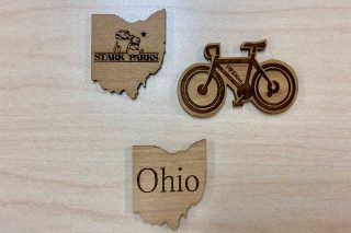 State of Ohio and Bicycle magnets from wood