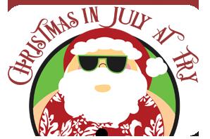 Santa with short sleeved shirt and sunglasses
