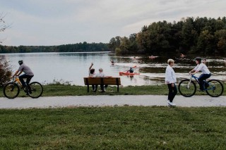Park patrons enjoying Deer Creek
