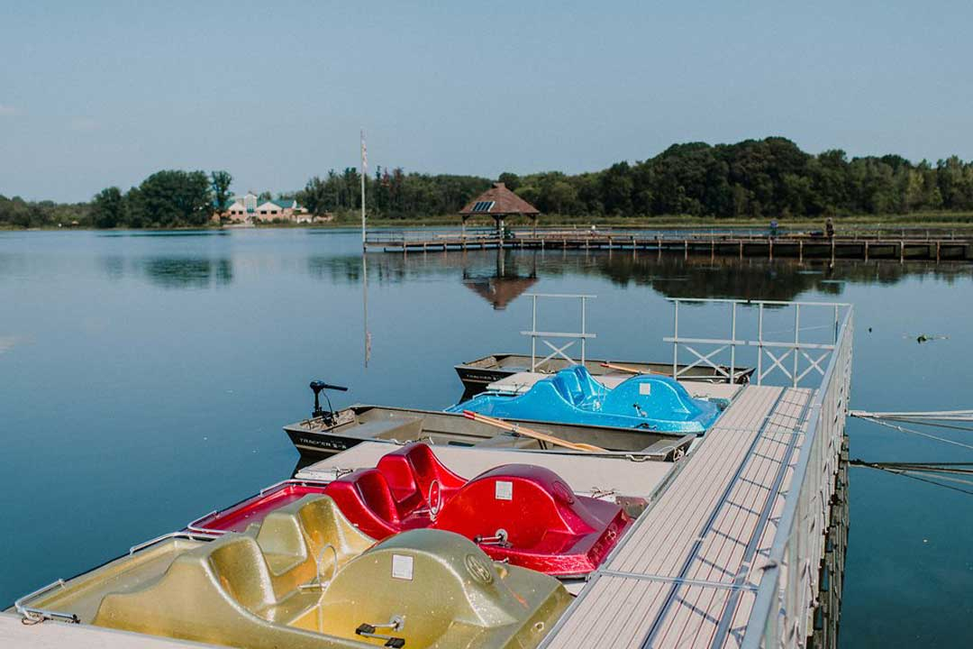 Pedal boats docked at Sippo Lake Marina