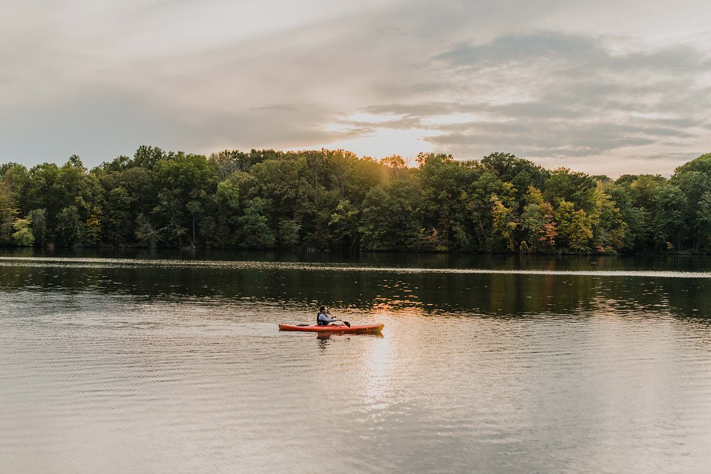 A Lone Kayak at Sunset on the Water at Walborn Reservoir